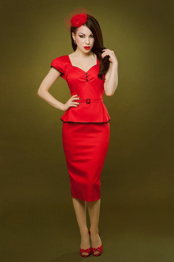Pin up rockabilly red peplum dress by Hola Chica Clothing