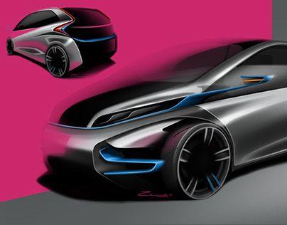 "Compact car - by Cesar Zanardo  Check out new work on my @Behance portfolio: ""Brandless Compact Car"" http://be.net/gallery/51413905/Brandless-Compact-Car"
