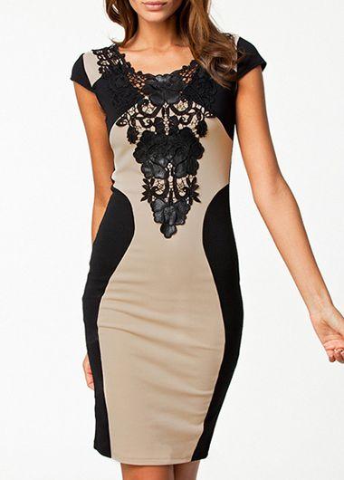 Elegant Lace Embellished Open Back High Waist Dress