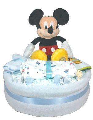 Tarta de pañales Hola Mickey. El mejor regalo para el recién nacido
