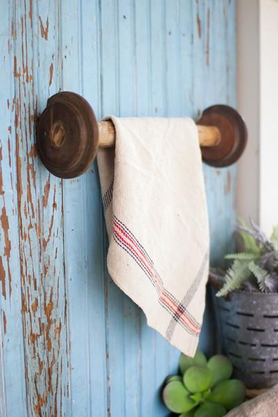 Recycled Wooden Spool Towel Rack