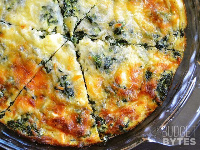 This easy and delicious Spinach Mushroom Crustless Quiche is low on carbs and big on flavor. This veggie filled breakfast will keep you full and happy. BudgetBytes.com sliced