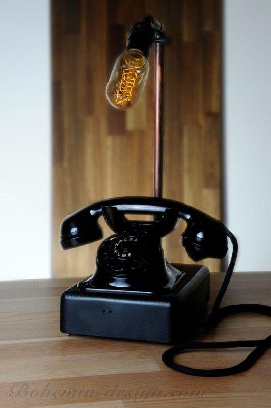 Stolní lampa vinatage telefon s Edison žárovkou