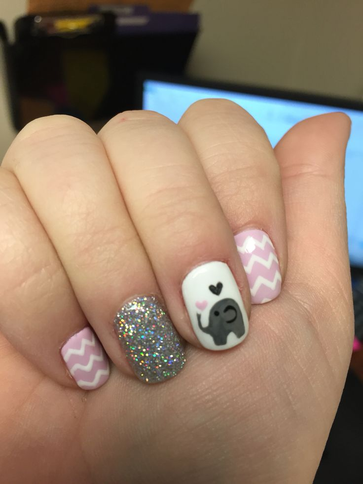 Wonderful Just A Little Elephant Spitting Up Some Hearts ☺ . Baby Girl NailsLittle ...