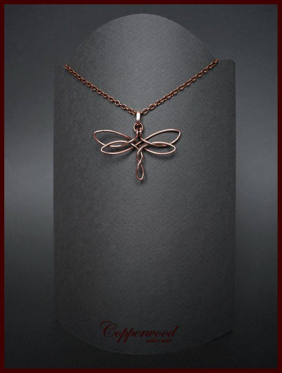 6346472735 Copper wire wrapped dragonfly pendant, Celtic handmade necklace, Wire wrap  celtic jewelry.
