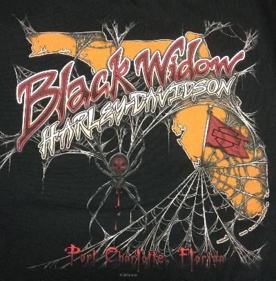 Black Widow Harley Davidson T Shirts