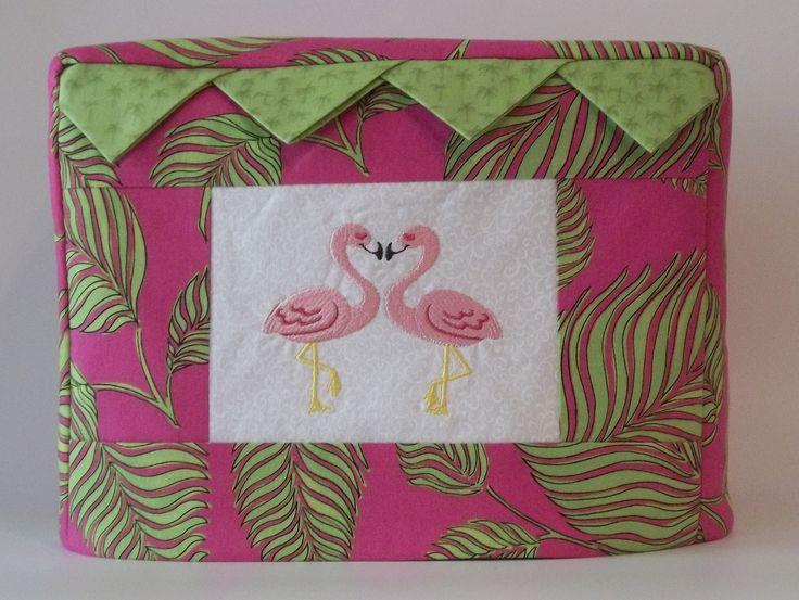 Two Slice Toaster Cover, Tropical Print with Flamingos by PatsysPatchwork on Etsy