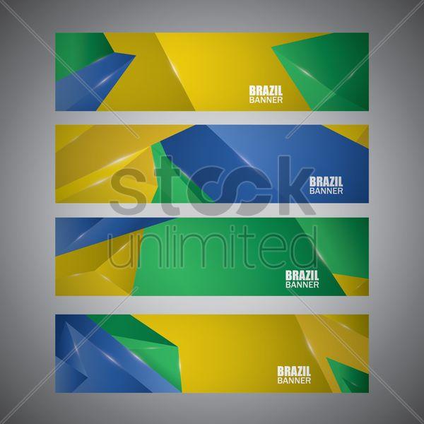 brazil banner set Stock Vector