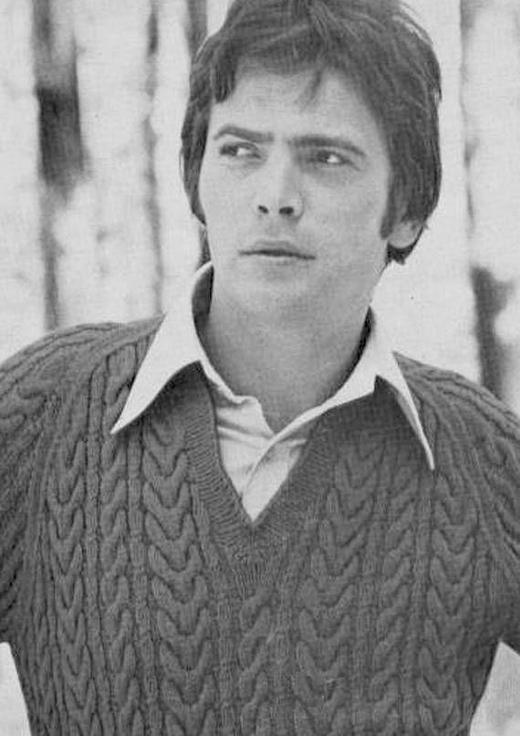 PDF Vintage Mens Knitting Pattern Mod ARAN Jumper  1960s