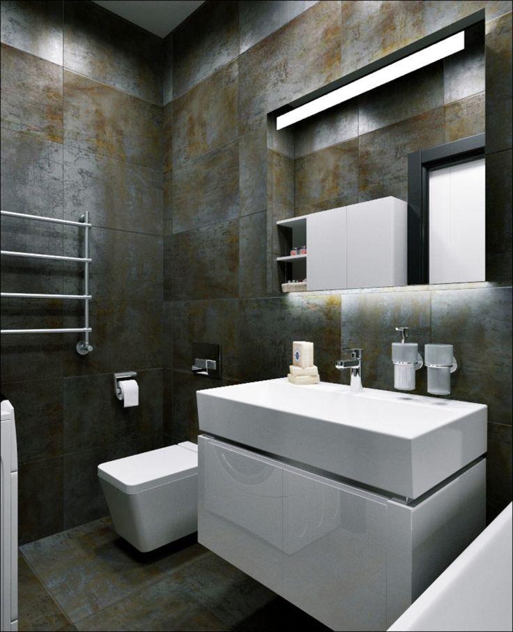 Ванная в  цветах:   Светло-серый, Серый, Черный, Темно-коричневый, Синий.  Ванная в  стиле:   Минимализм.