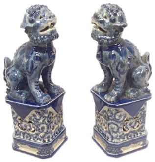 blue and white asian decor | Blue and White Foo Dogs - China Furniture Online asian-fireplace ...