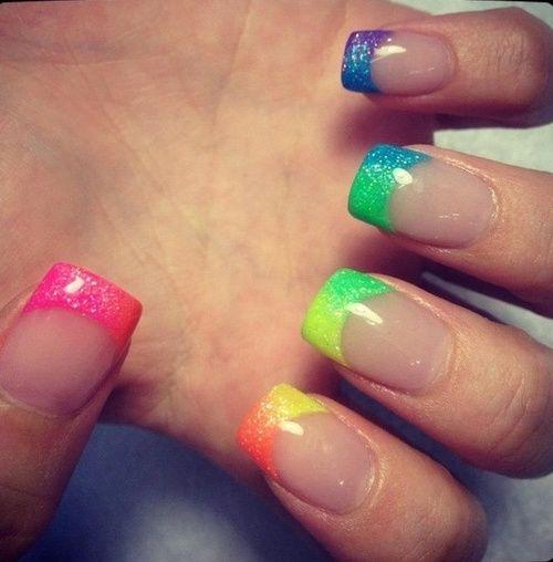 Neon French Tip Nail Designs: Neon Rainbow+Glitter=