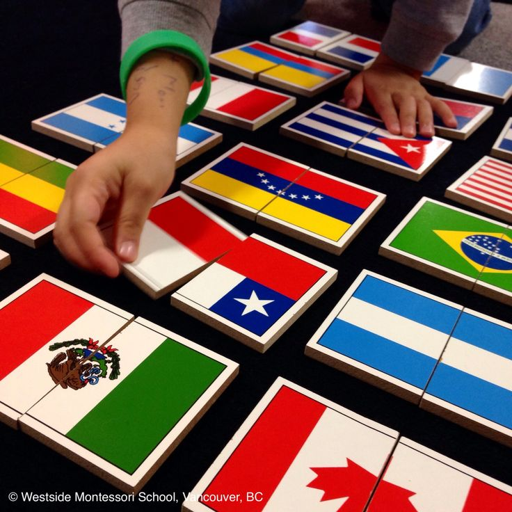 Montessori Geography work - Flag Puzzles for North and South America. From Nienhuis Montessori.