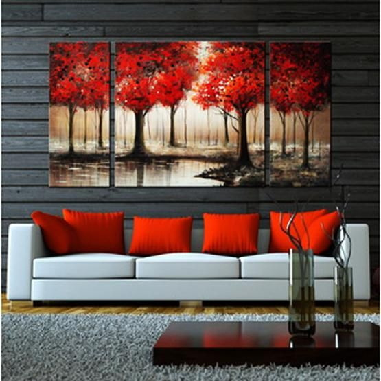 interior decorating with maple leaves and red home accents