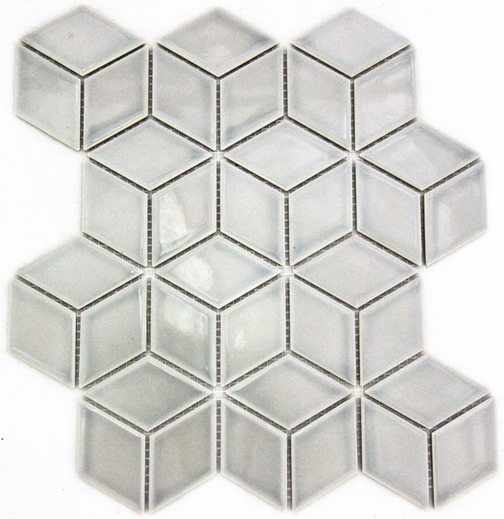 Cube 3D Gloss Grey 30.5cm x 26.5cm Mosaic in Home, Furniture & DIY, DIY Materials, Flooring & Tiles | eBay