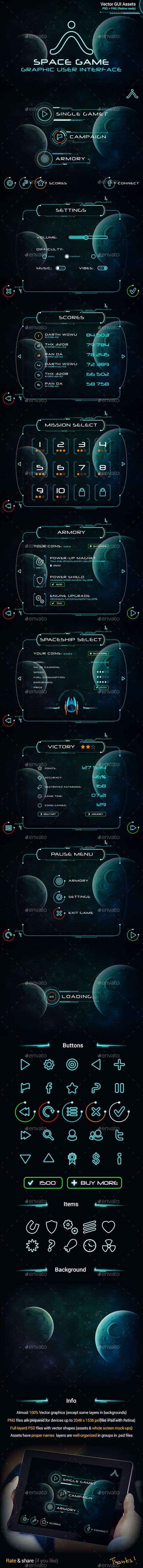 Space Game GUI Set - User Interfaces Game Assets: