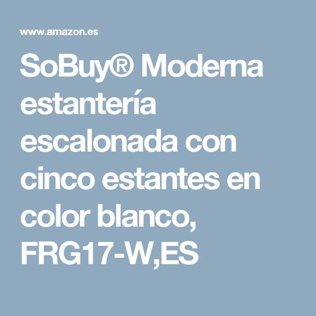 SoBuy® Moderna estantería escalonada con cinco estantes en color blanco, FRG17-W,ES