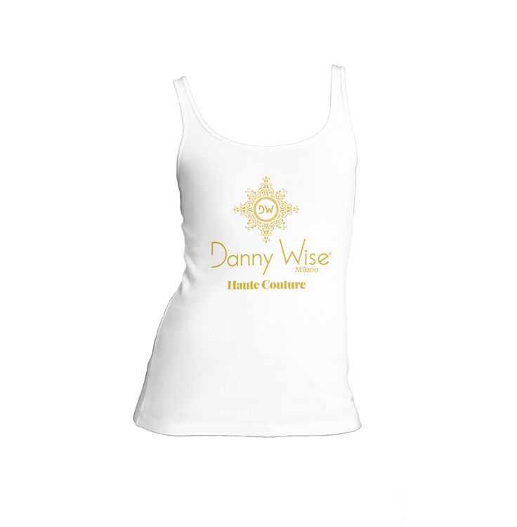 DANNY WISE Tank -Canotta Original: Model Lady slim  100% Cotton  Color White Logo Gold   stamped by Hand in Italy.      size S-M , only in official Boutiques- Stores- Megastores  Danny Wise for your luxury free time .
