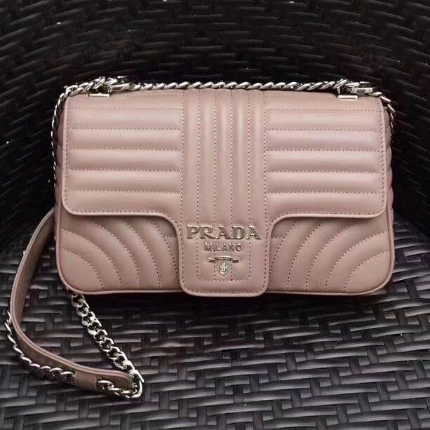 474cff6bcef6 Prada Diagramme Leather Flap Shoulder Bag 1BD108 Nude 2017 #Pradahandbags