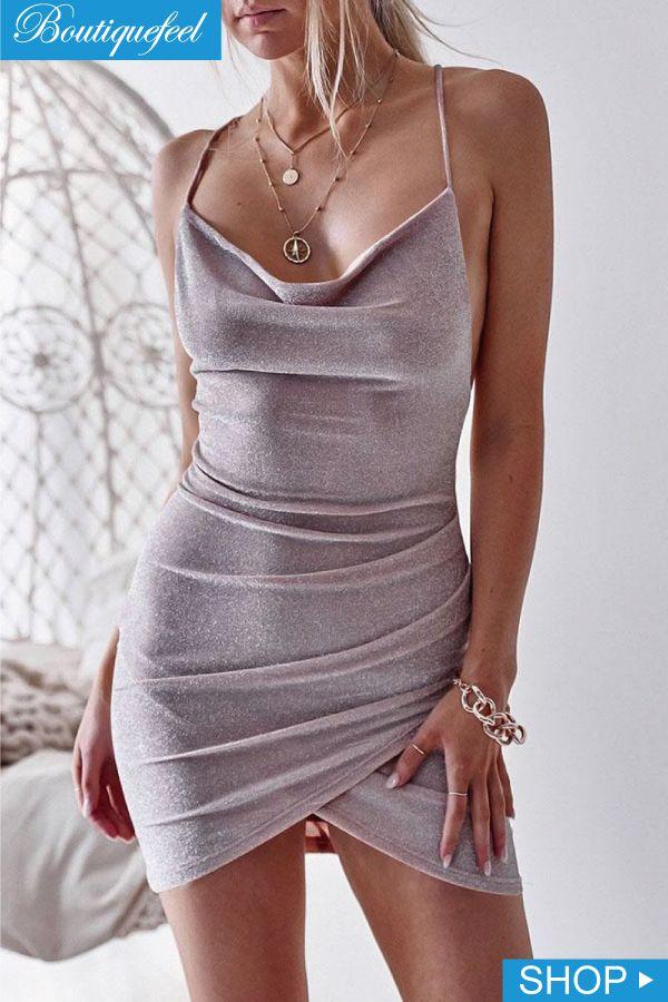Glittering Drape Neck Scrunched Irregular Party Dress  e108d8fb99c1