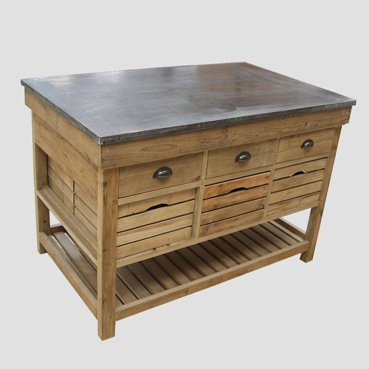 Centre de cuisine 6 tiroirs 6 casiers en bois recycl et for Meuble bois tiroirs casiers