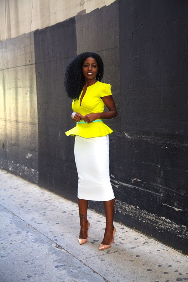 Neon Peplum Blouse + High Waist Pencil Skirt