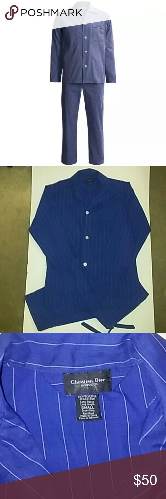 Christian Dior monsieur men's pjs Vintage Christian Dior monsieur long sleeve pajama set. dark blue with thin white pinstripes. 1 left breast pocket and two front pockets. size small. 65% polyester 35% cotton. top is button up up and pants are drawstring and have buttons. In mint condition. Gucci Underwear & Socks