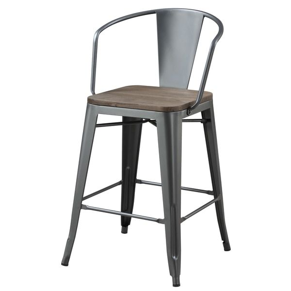 Furniture of America Tripton Industrial Metal Grey & Natural Elm Counter Height Chair (Set of 4)