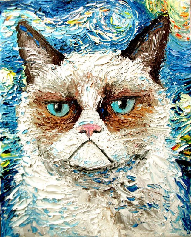 Grumpy Cat Is Still Grumpy is a painting by New York-based Aja which is fashioned after Vincent Van Gogh's Starry Night