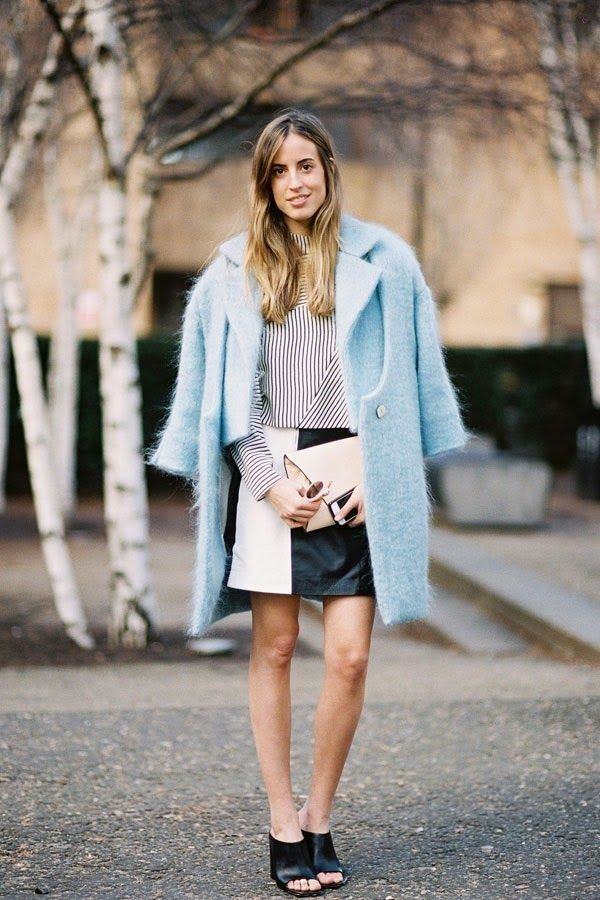Not quite cold enough for outerwear? Drape your coat over a warm-weather ensemble for the perfect transitional outfit.... - Street Style