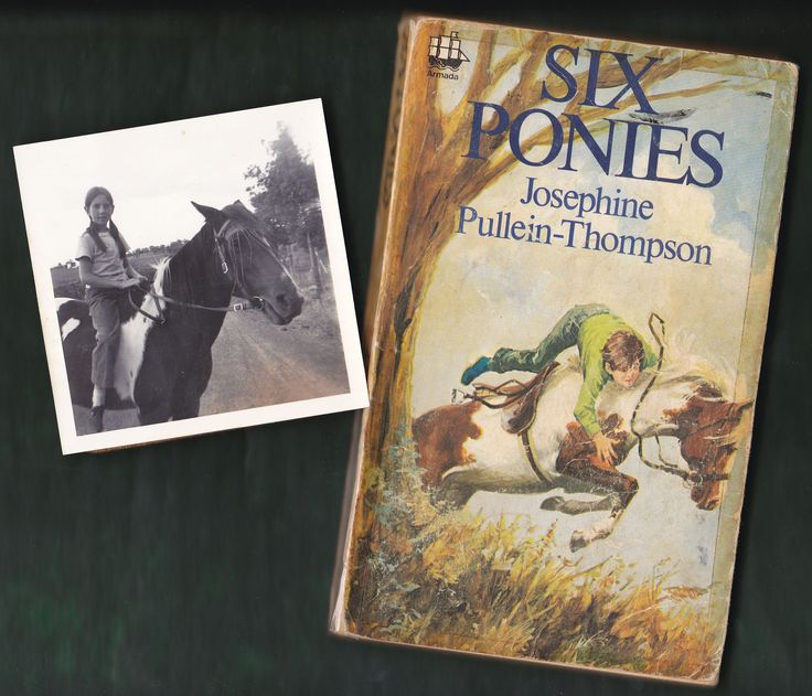 This is me with my pony Magpie and 'Six Ponies' by Josephine Pullein-Thompson. I was horse-mad as a child. I identified with main character, Noel, initially an outsider who triumphs by being willing to learn and take advice. My copy is the 1971 Armada paperback and I almost loved it to bits (you can see the stickytape marks on the cover). I can still quote the opening lines: 'Well done, June!' said Mrs Cresswell, as her daughter cantered out of the ring with yet another rosette...' - Lesley…