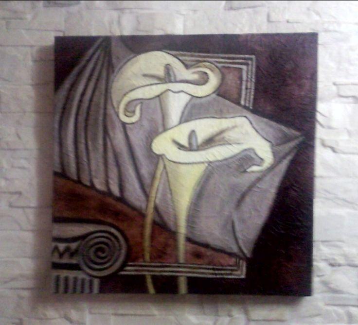 Cuadro pintado a mano con fondo rugoso de papael acrilico for Cuadros pintados a mano