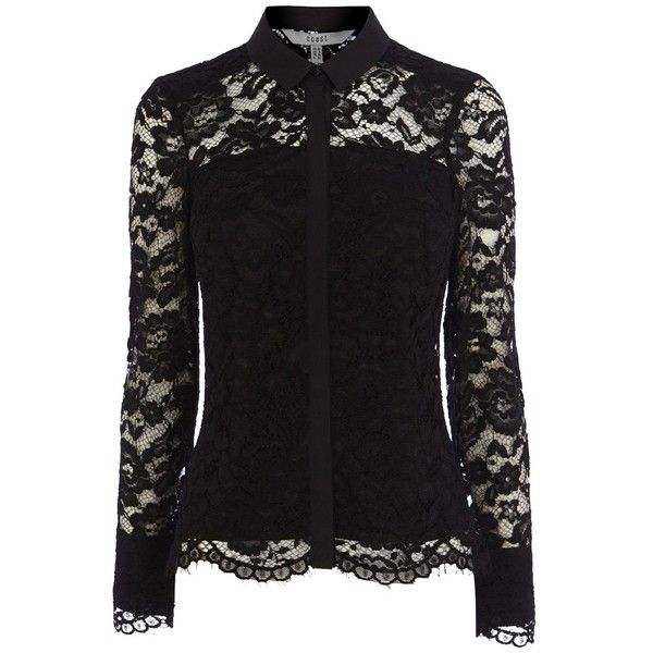 Coast Adelia Lace Blouse, Black (150 CAD) ❤ liked on Polyvore featuring tops, blouses, long sleeve blouse, black lace blouse, slimming tops, collared blouse and long sleeve lace top
