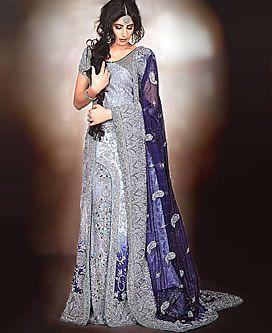 White Chiffon Wedding Dress With Blue