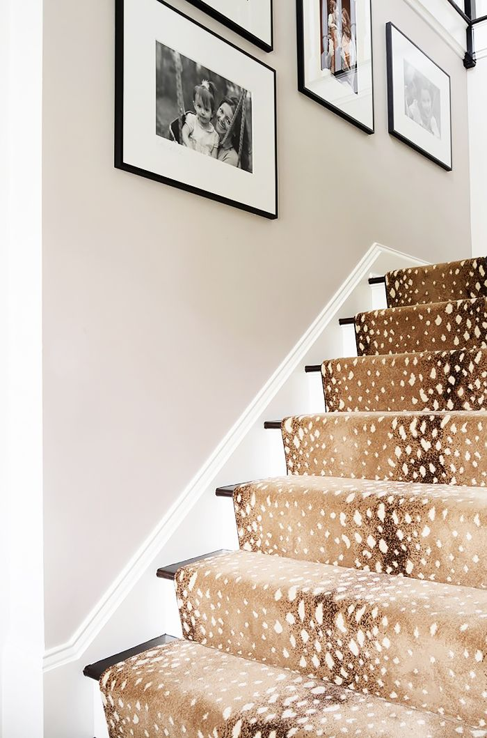 Staircase with a leopard runner