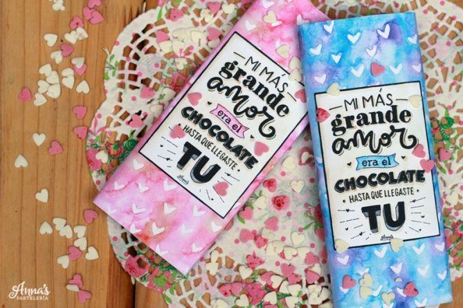 Envoltorios o etiquetas para chocolates imprimibles GRATIS!, una manera preciosa de dar un regalo diferente del blog Anna