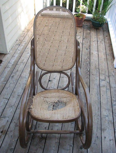 Look at my poor, sad rocking chair. We brought it over to the new house so we'd have something to sit in and one day one of the strips of ca...