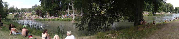#Wilderness festival in Oxfordshire. Swim Trek every morning on the beautiful lake in Cornbury Park.