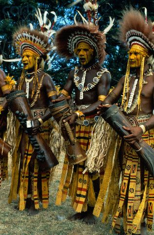 Papua New Guinea Musicians in Traditional Tribal Dress