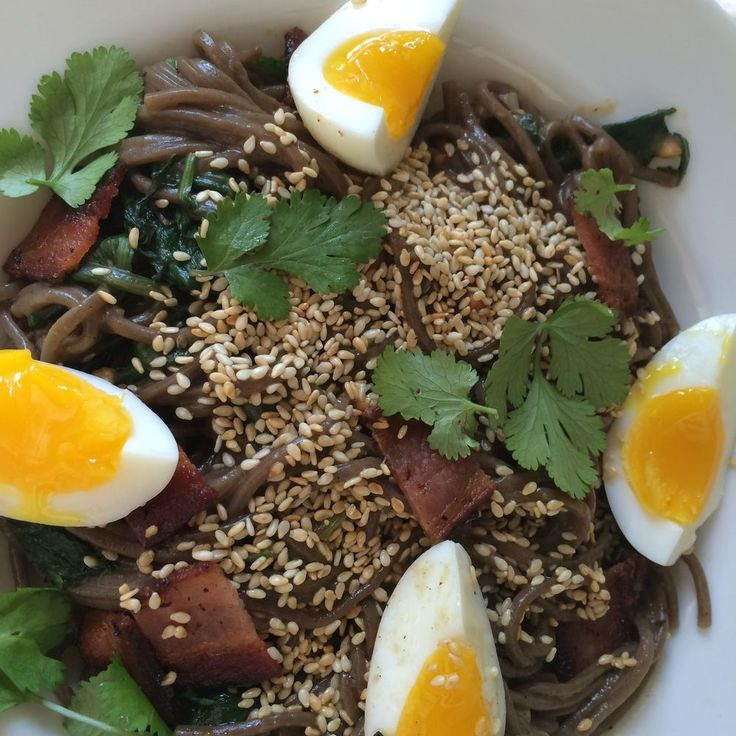 Peanut Sesame Soba with Bacon, Egg and Tiny Greens Recipe on Food52 recipe on Food52
