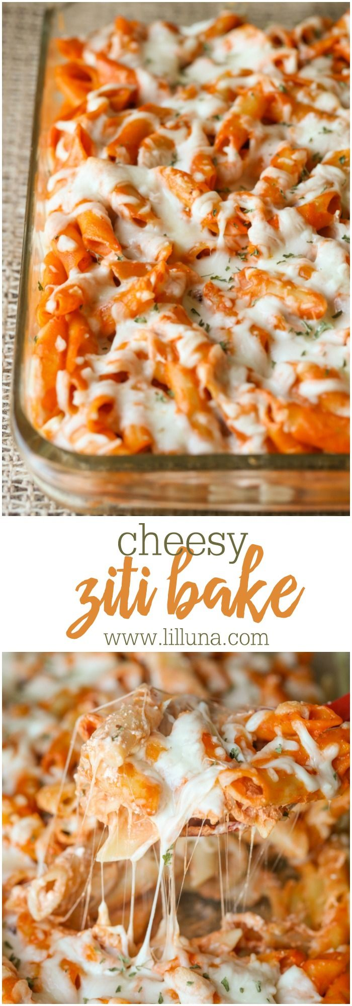 Cheesy Ziti Bake - a simple and delicious dinner recipe filled with a cream cheese and tomato sauce topped with cheese! YUM!