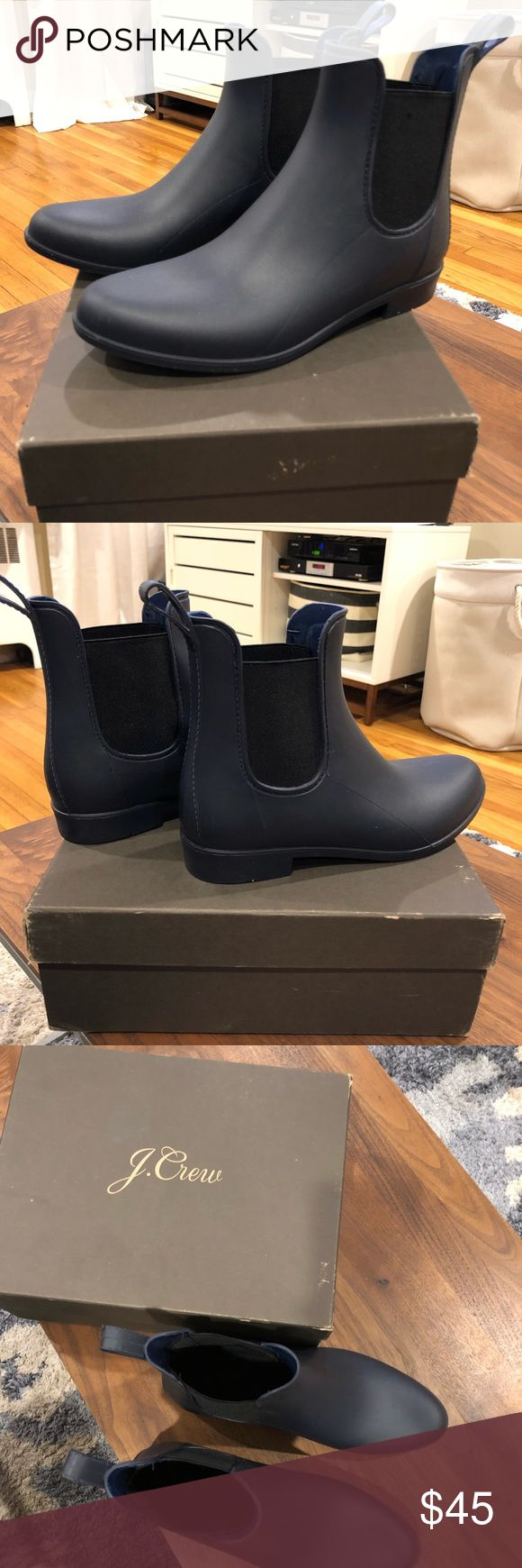 J Crew navy Chelsea boot Navy matte rain boot Worn one time only Box included Lightweight and stylish rain boot. Just in time for rainy spring J. Crew Shoes Winter & Rain Boots