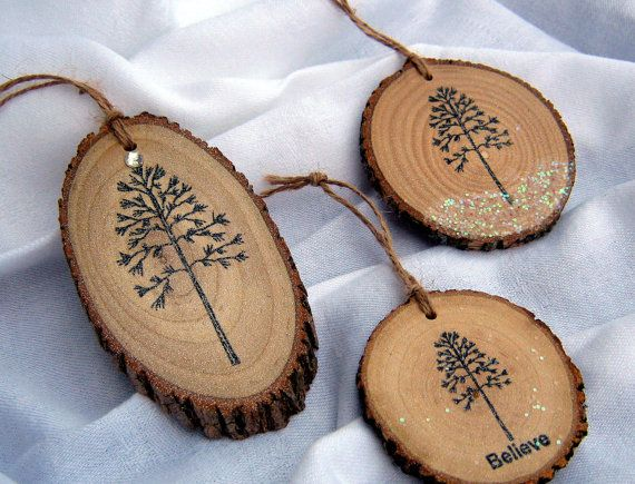 3 RUSTIC CHRISTMAS ORNAMENTS Woodland Christmas by HudsonBlockCo, $18.00