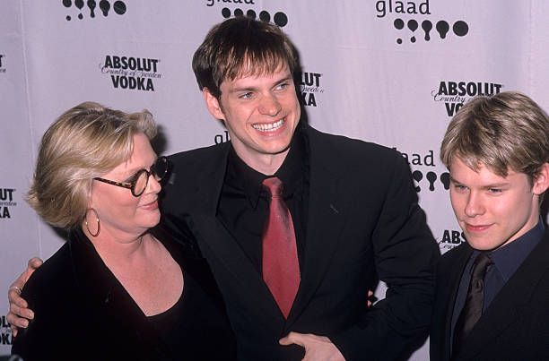 Actress Sharon Gless actor Peter Paige and actor Randy Harrison attend the 12th Annual GLAAD Media Awards on April 16 2001 at the New York Hilton...