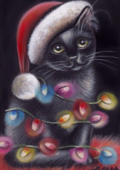 Black Cat Kitten Portrait Christmas Santa Original 5x7 Art Painting by MARTA | eBay