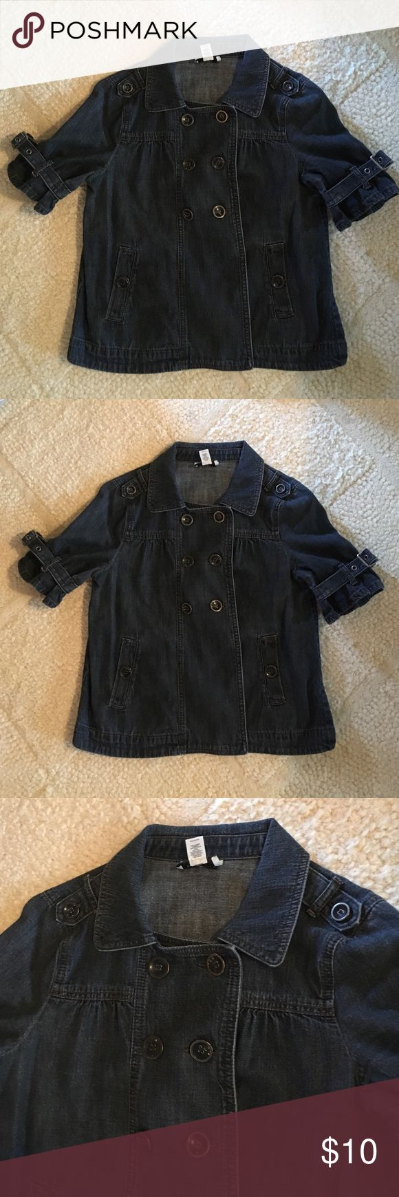 Jean jacket from Loft Short sleeved jean jacket from Loft with button closure. I just realized it was a medium petite, but would fit a medium too. LOFT Jackets & Coats Jean Jackets