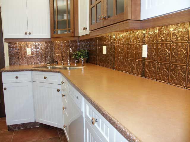 copper tin tile backsplash