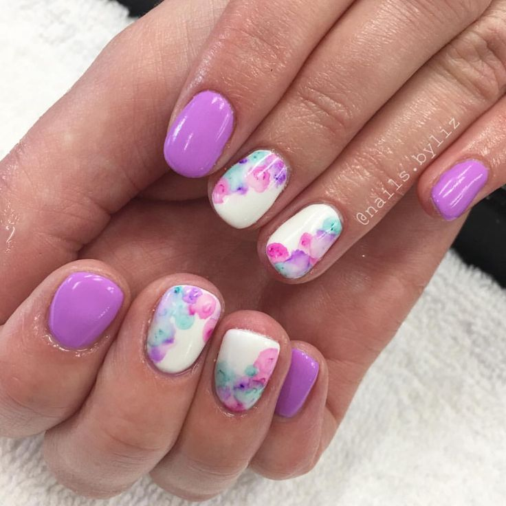 "278 Likes, 5 Comments - Liz Henson (@nails.byliz) on Instagram: ""What's better to celebrate spring than some fun watercolor nails?!  . . . . #nails #gelnails…"""