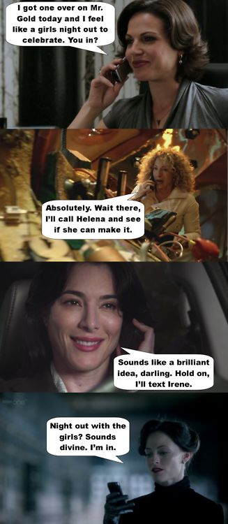 Regina from OUAT, River from Doctor Who, H.G. Wells from Warehouse 13, and Irene from Sherlock. Girls' night! :D