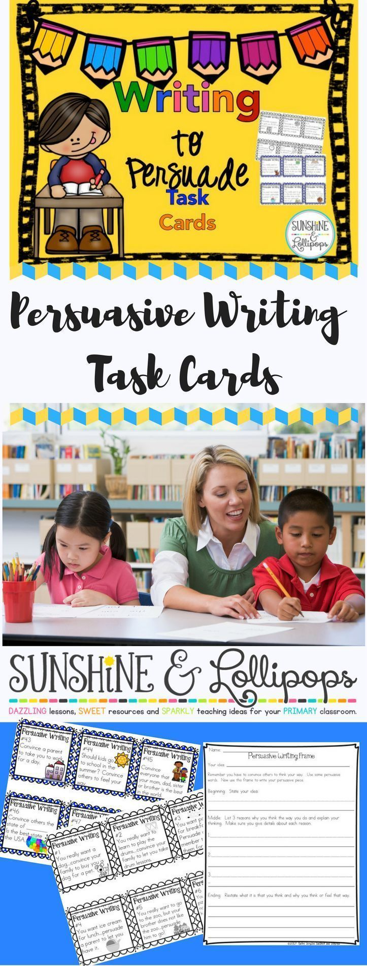 Your kiddos will love these persuasive writing task cards with prompts to make writing fun. There are 60 cards with ideas for writing to persuade. Black and White copies allow the cards to be used with Interactive Writing Notebooks.